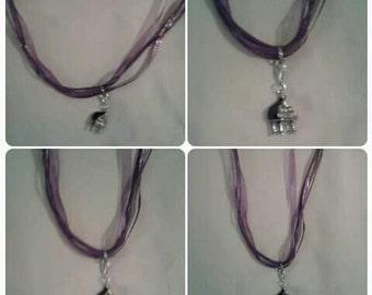 Purple Ribbon Necklace W/Black Piano