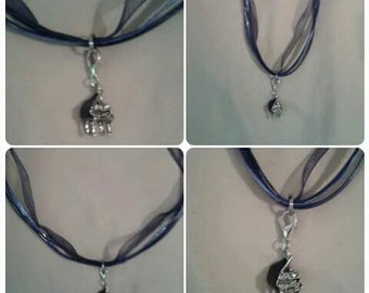 Blue Ribbon Piano Necklace