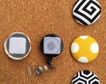 Black and White Button Badge Reel Set - Interchangeable