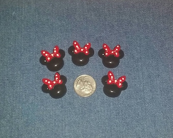 5 Minnie Mouse like embellishments, Red Bow with White polka dots, Resin Embellishment, Acrylic, Flat Back