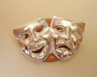 Sterling Silver Comedy Tradegy Theatre Masks Brooch Pin