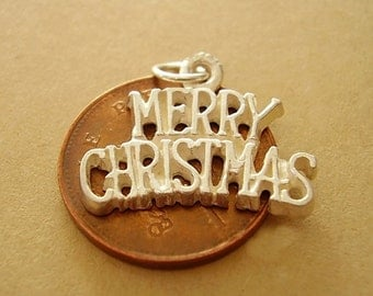 Sterling Silver MERRY CHRISTMAS charm charms
