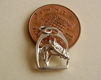 Sterling Silver 3D Horses Head in Stirrup Charm Charms