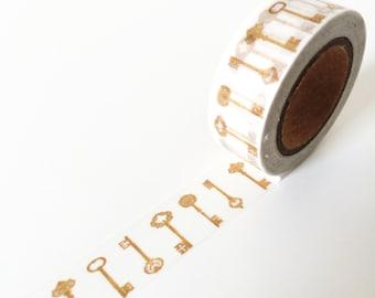 Vintage gold key washi tape