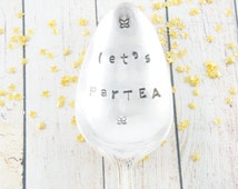 hand stamped vintage silverware spoon, honey spoon, tea spoon, gift, flatware, trendy, tea spoon, tea party