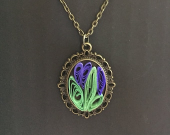 Quilled necklace, quilled jewelry, quilled flowering cactus