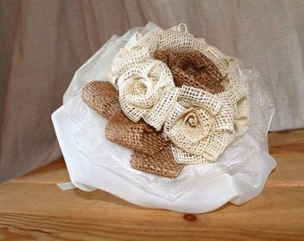 Wedding Bouquet/jute organza with swarovski