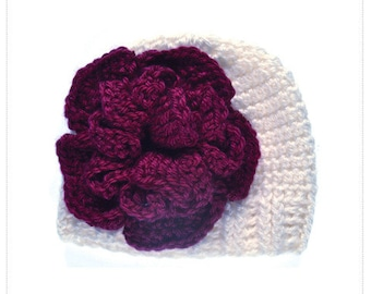 Beanie-Ivory with Beet Flower