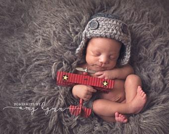 Chunky Grey Aviator Hat Photography Prop