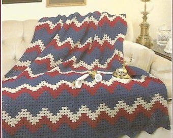 crochet granny ripple afghan throw blanket bed cover lap blanket vintage pattern instant download pdf