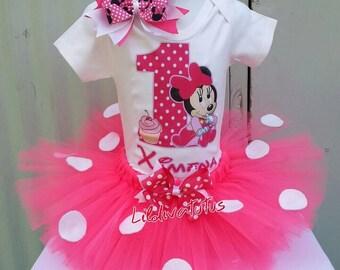 Handmade pink minnie mouse first birthday tutu set