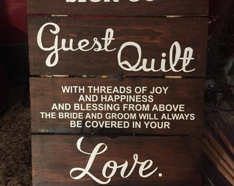 Wedding Guest Book Sign- Please Sign our Wedding Guest Quilt