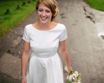 Jessica Ivory Satin Tea Length Bridal Gown