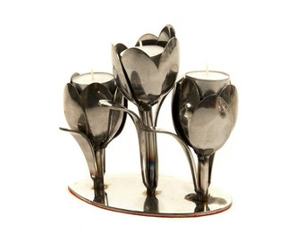 Tulip Tea light holder made from recycled spoons