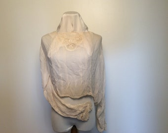 1930s silk blouse with lace insets