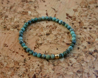 Heart Refresh: African Turquoise  4mm Stretchy Bracelet with 14K Gold Filled Bead