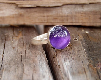 Amethyst Sterling Silver Ring; Lilac Silver Ring; purple stone ring; silver purple ring; Feb birthstone; Amethyst Silver ring