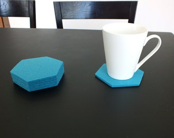 Merino Wooll Felt Turquoise Hexagon Coasters, Set Of 4 Drink coasters, Tableware Mothers Day Gift. Gift For Mom. Party Decoration