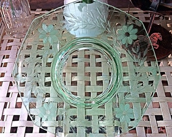 Vintage Green Glass Floral Plate Decorative Accent Shabby Cottage Chic Decor