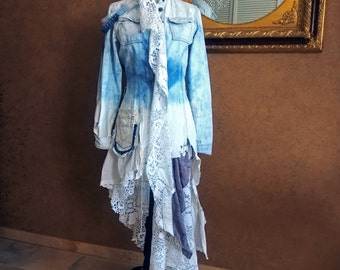 Dissimilar fabric denim coat