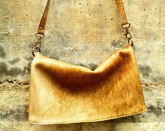 FOLDOVER LEATHER CLUTCH- Trendy leather bag- soft genuine leather bag- messenger bag -shoulder bag