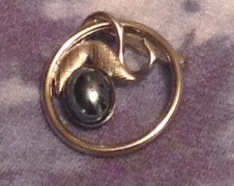 Ekelund Sterling Pin with Faux Black Pearl