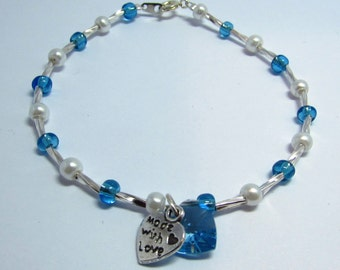 Blue bead and faux pearl bracelet