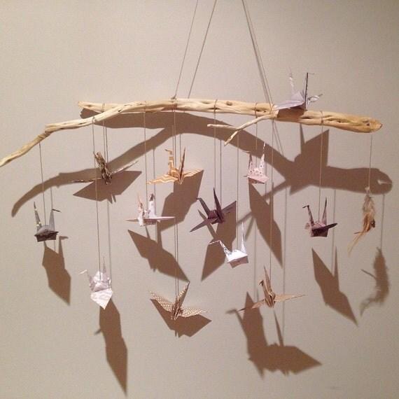 Bois flott origami grue tenture murale oeuvre b b mobile - Mobile en bois flotte ...