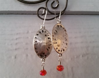 Sale! Silver Ovals and Red Crystal Earrings