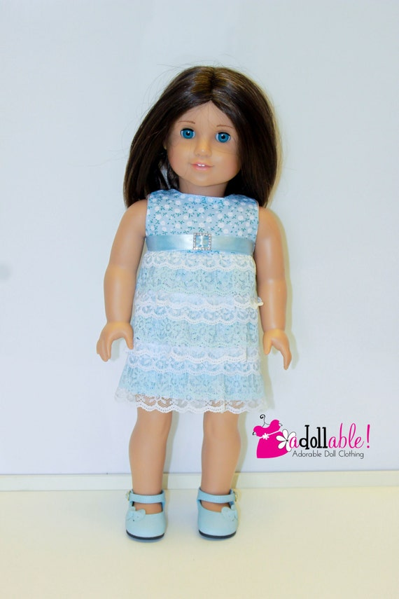 American Girl Doll Clothes, Powder Blue Ruffled Dress