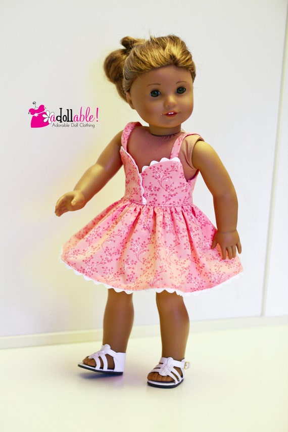 American Girl Doll, Peach Sundress with White Rickrack