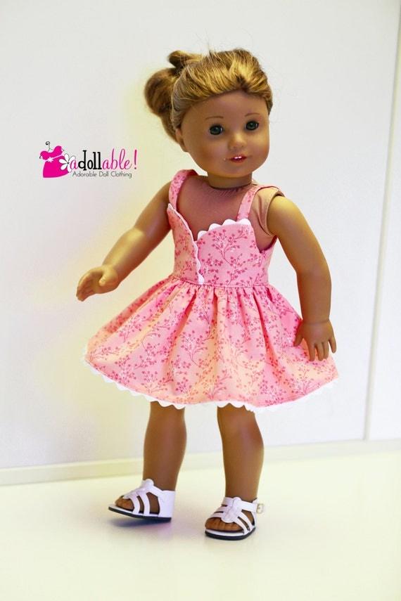 American Girl Doll, Peach Sundress with White Rickrack