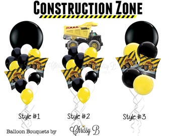 Yellow and Black Giant Balloon Bouquet (CONSTRUCTION ZONE Theme) Giant 36 Balloon Mixed w/ 12 Latex  - Dump Truck Mylar, Orbz