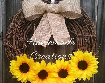 Sunflower | Sunflower Wreath - Rustic Sunflower Wreath - Burlap Bow Rustic Wreath - Summer Wreath - Fall Wreath -  Front Door Décor