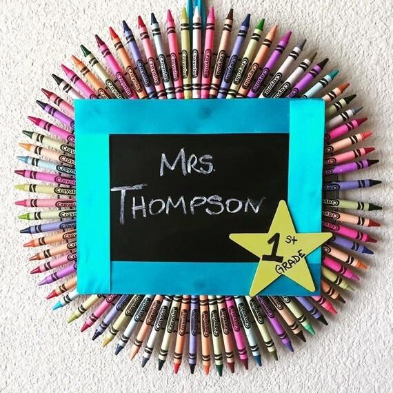Classroom Decor Etsy ~ Crayola wreath classroom decor teacher