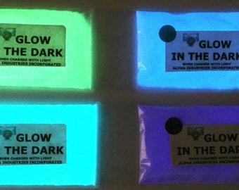 ALL 4 COLOURS of The Strongest Glow in the Dark Powder available from UK - 10g x 4 colours as shown