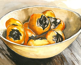 fruit bowl drawing persimmon fruit
