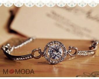 MOMODA diamond bracelet, cz stone crystal bracelet, wedding jewelry, bridal jewelry