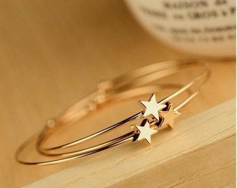 MOMODA star bracelet (set of 3), open bangle bracelet, star friendship bracelet