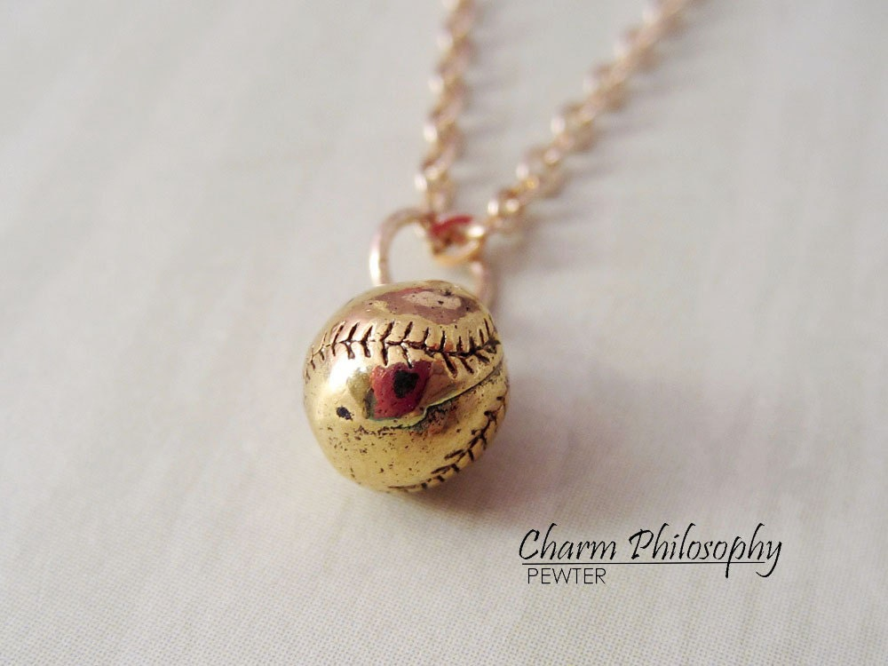 gold baseball necklace softball charm necklace by cppewter
