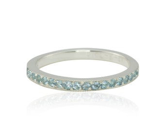 Blue Topaz Ring - 75% off - Birthstone Stacking Ring with Blue Topaz in Sterling Silver - December Birthstone - OR BEST OFFER - LS2379