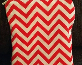 Red and white zippered pouch