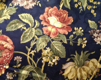 Fabric Sample, Upholstery Fabric, WHOLESALE FABRICS, Drapery Fabric, Sewing Material, Slip Cover Fabric, Duvet Cover Fabric, Navy Floral