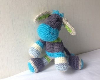 "Crochet Donkey stripped stuffed toy ""Bluty"""