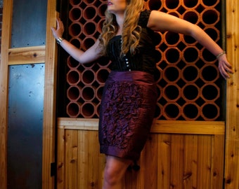 Duponi Silk Pencil Skirt- Pleated and Furrowed, Sample Sale