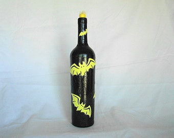 Halloween wine bottle oil lamp