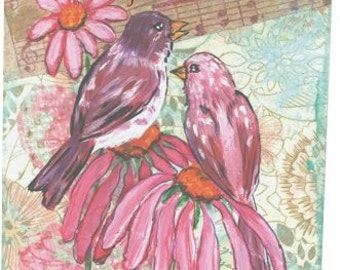 Purple Finches and a Coneflowers