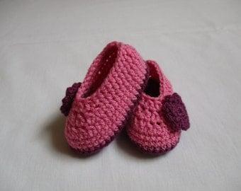 Crochet Baby Booties, Pink and Purple Crochet Baby Girl Booties