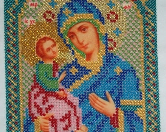 Worker orthodox Christian bead embroidered icon,orthodox icon, embroidered picture,bead embroidery