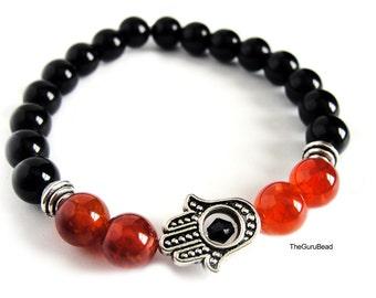 Fire Agate Bracelet, Jasper Bracelet, Hamsa Hand Bracelet, Mens Bracelet, Womens Bracelet, Yoga Bracelet, Chakra Bracelet,Yoga Mala Bracelet